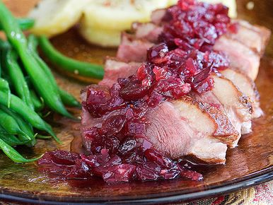 Duck Breast with Sweet and Sour Cranberry Chutney