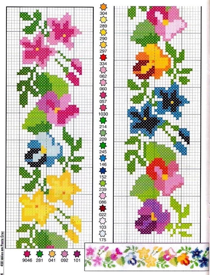 Вышивка крестиком бордюр из мелких цветочков 68