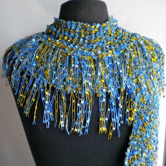 Knitting Pattern For Ladder Yarn Scarf : Scarf Blue Fringe Ribbon Ladder Yarn