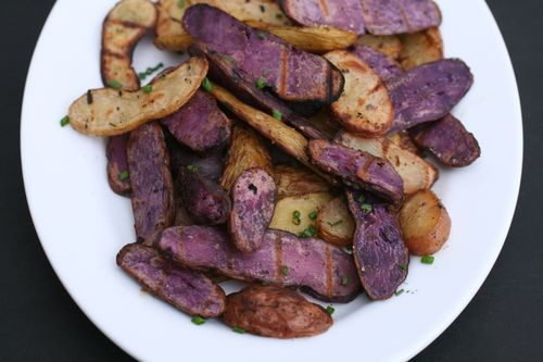 Grilled potato slices with salt and vinegar. Thinking ahead to summer ...