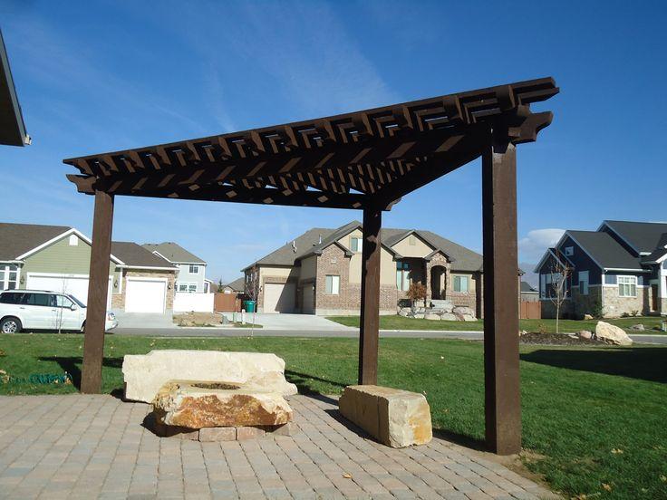 corner pergola over a fire pit outdoor living spaces. Black Bedroom Furniture Sets. Home Design Ideas