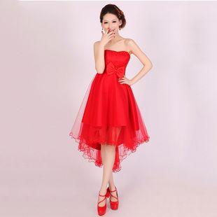 New wedding dress toast dress red short dress white bridesmaid dress