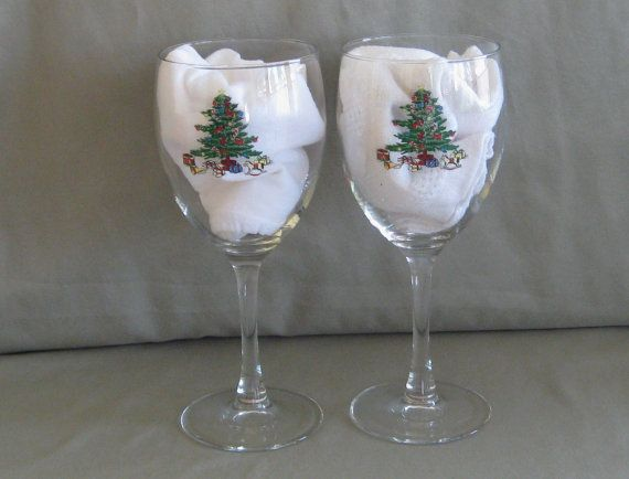 Christmas wine glasses water goblets set of two decorated tree with