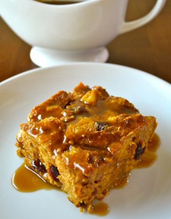 ... Bread Pudding with Caramel Sauce. (I add rum to the caramel sauce