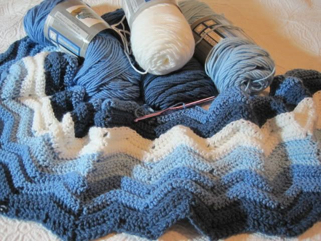 Beginnings of a Blue Ripple Blanket
