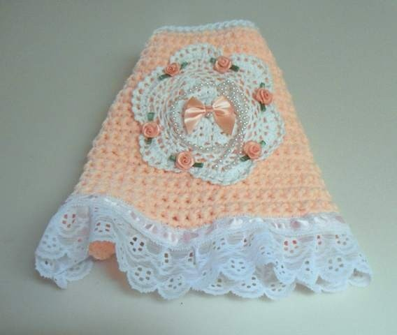 Crochet Xs Dog Sweater : XS Crocheted Peach Dog Sweater Dress Chihuahua crochet Pinterest