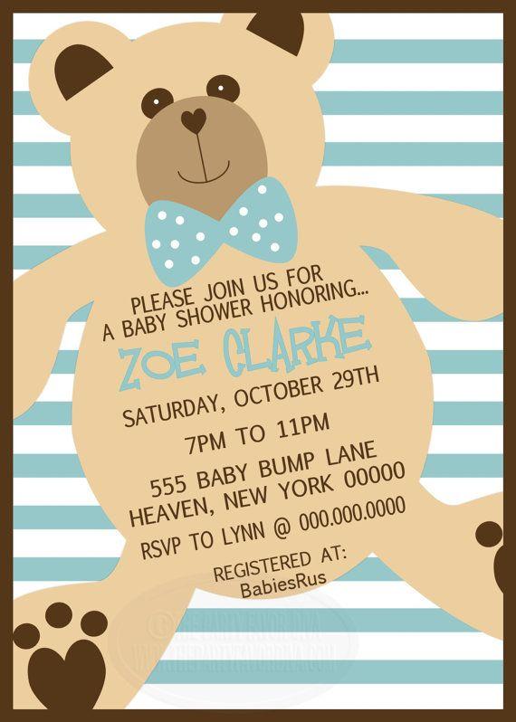 teddy bear baby shower invitation by thepartyfavordiva on etsy