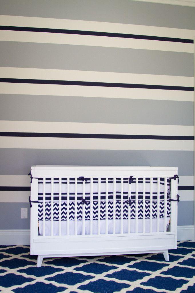 Blue-striped accent wall - so preppy!