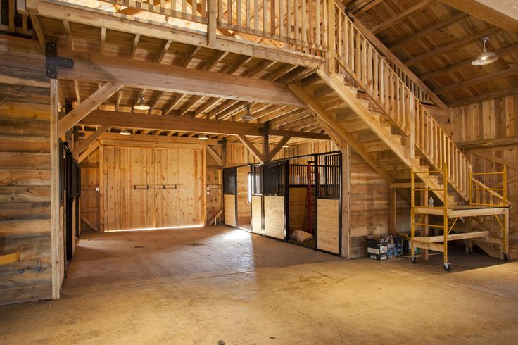Horse stalls and storage space wood post and beam barn for Post and beam barn plans