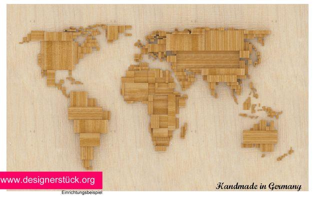 Weiteres - Weltkarte aus Holz - Deko für die Wand - ein ...