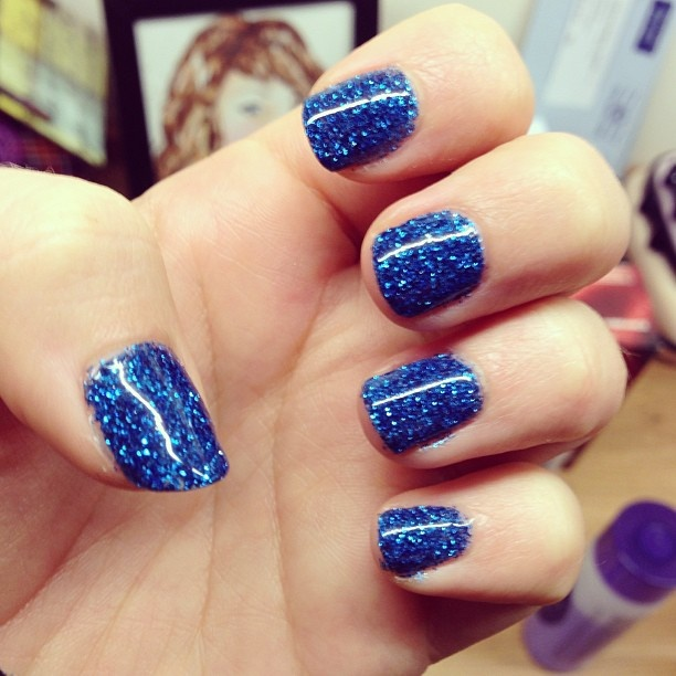 blue sparkle shellac | Nails | Pinterest