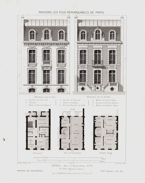 1863 antique victorian architecture lithograph facade of for Victorian townhouse plans
