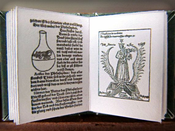 "Miniature Book ""The Art of Alchemy"" in 1/12 inch dollhouse miniature scale. $34.95, via Etsy."