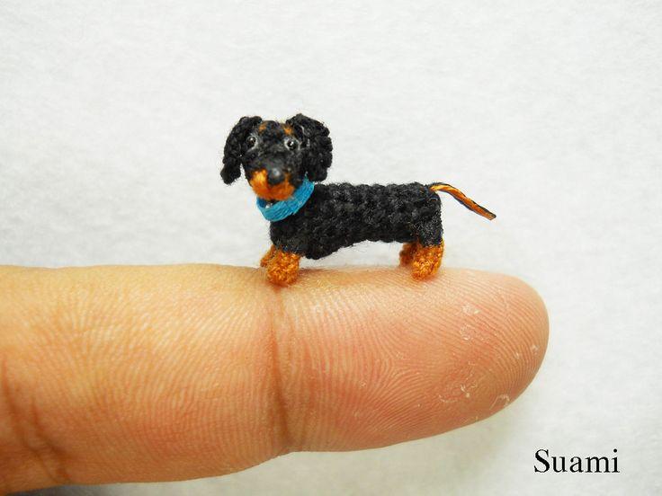 Knitting Patterns For Sausage Dogs : 0.6 Inch Miniature Dachshund Sausage Dog Amigurumi - Tiny Crochet Bla?