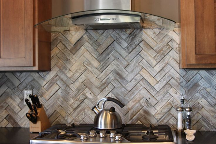 Herringbone backsplash for Wood stove backsplash