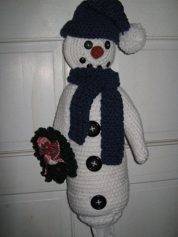 Crochet plastic bag / garbage bag holder-storage (Snowman ...