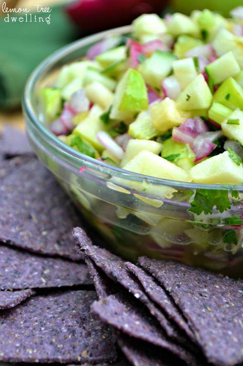 Fresh Green Apple Salsa - yum!! via lemontreedwelling.com