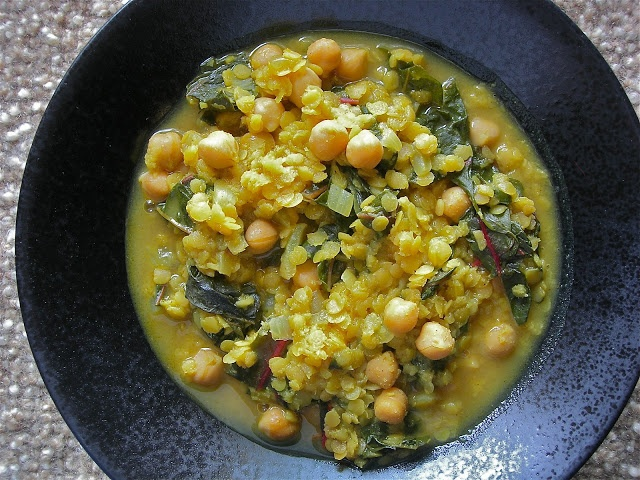 My Little Bungalow: Curried Lentil, Garbanzo Bean and Swiss Chard Stew