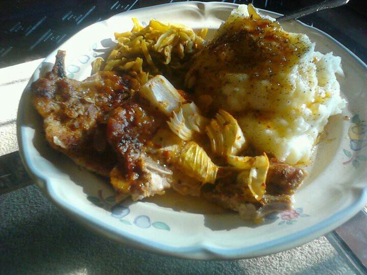 Italian braised pork chops and mashef potatoes