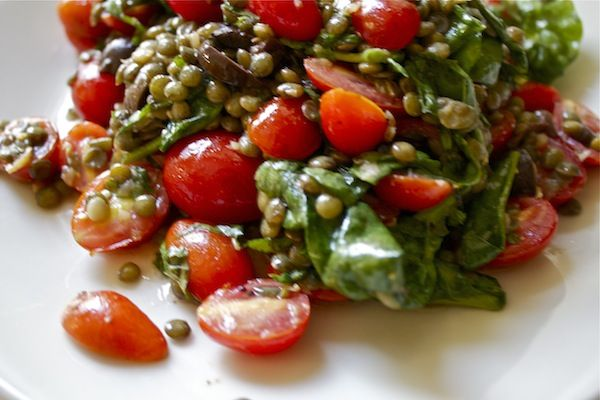 french green lentils with tomato + olives