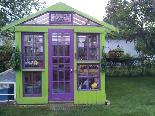 Old Windows Greenhouse Purple Everything Pinterest