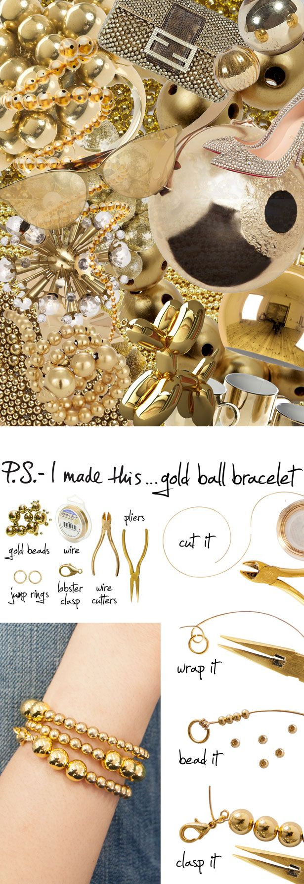 P.S.-I made this...Gold Ball Bracelet inspired by @Paula manc Mendoza #PSIMADETHIS #DIY