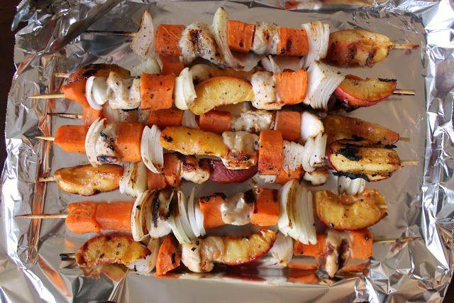 Grilled Honey-Glazed Chicken, Peach, & Sweet Potato Skewers