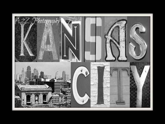Kansas city letter art with skyline fine art home decor for Home decor kansas city