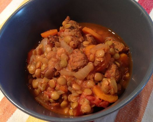 Italian Sausages With Lentils Recipe — Dishmaps