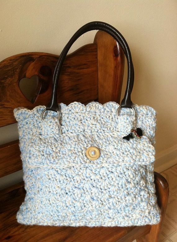Crochet Tote hand bag by rosewymercreations on Etsy, $40.00