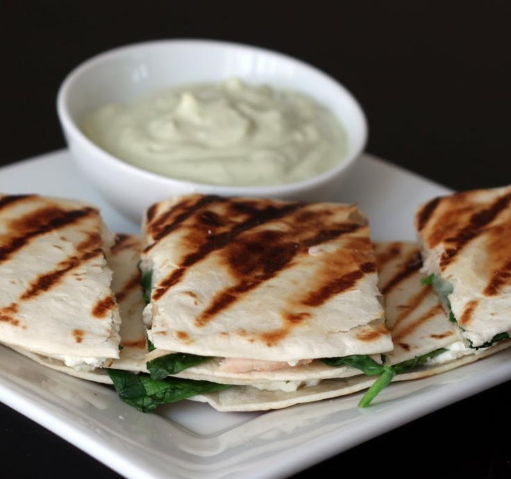 ... Goat Cheese and Sauteed Spinach Quesadillas with Avocado Cream Sauce