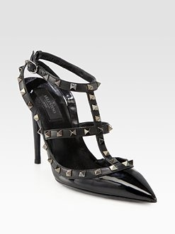 valentino noir leather rockstud pumps