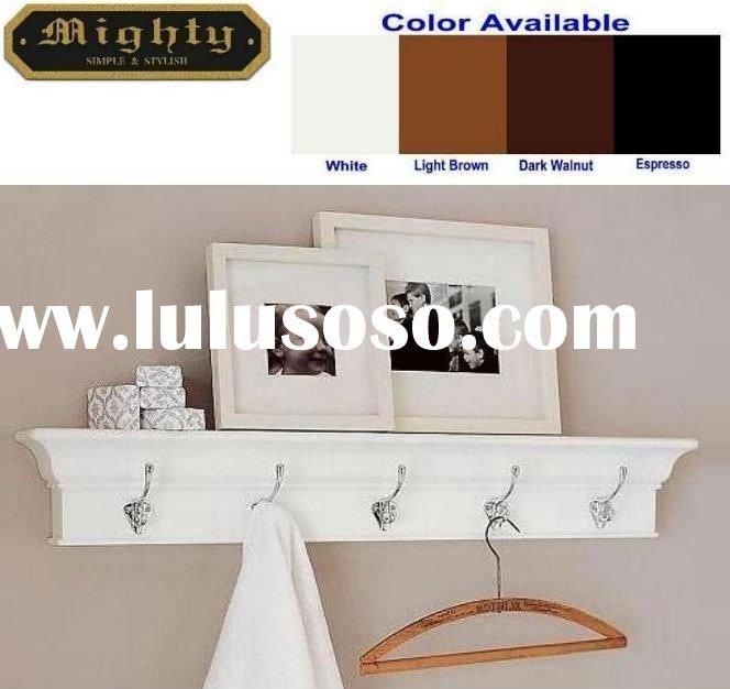 wall shelf ledge with 5 hooks for the home pinterest. Black Bedroom Furniture Sets. Home Design Ideas