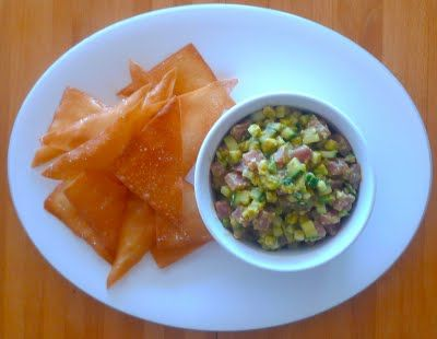 Tuna and Avocado Tartare on Sesame Wonton Crisps