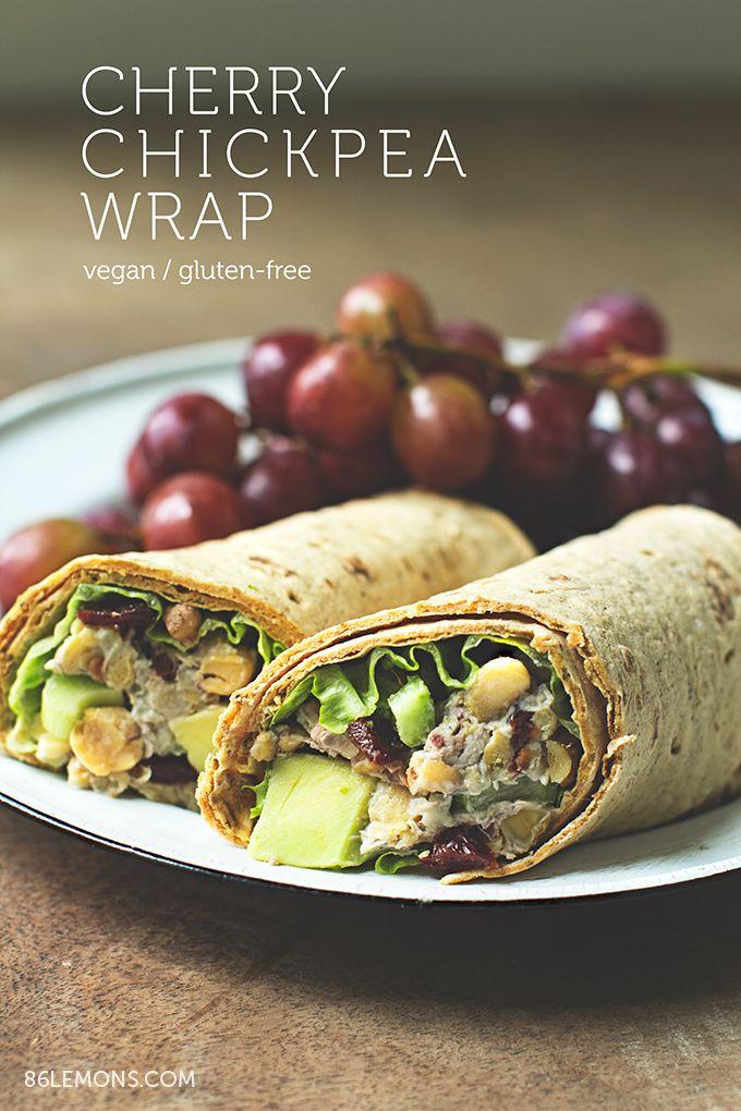 Cherry Chickpea Salad Wrap with creamy cashew dressing #vegan # ...