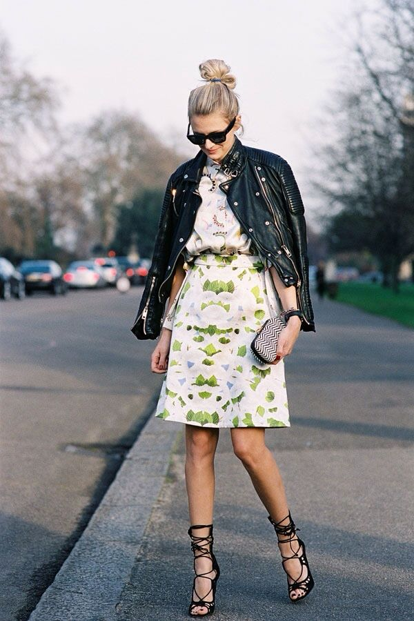 Black leather and mini floral dress