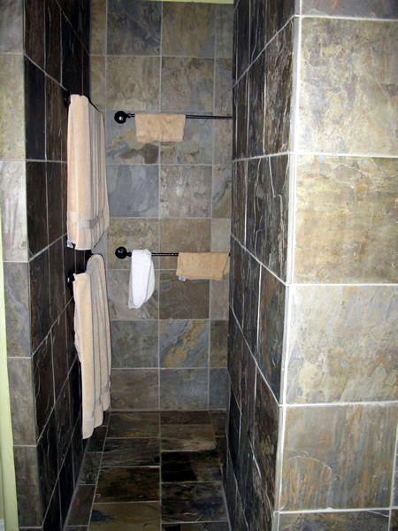 Stone no door shower decorative home projects pinterest - Walk in shower no door ...
