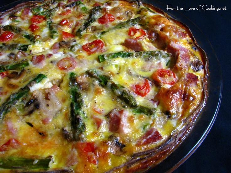 Asparagus, Ham & Mushroom Quiche with Potato Crust
