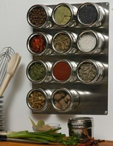i really like the way magnetic spice racks look - you can see all the fun spices and it's so modern.