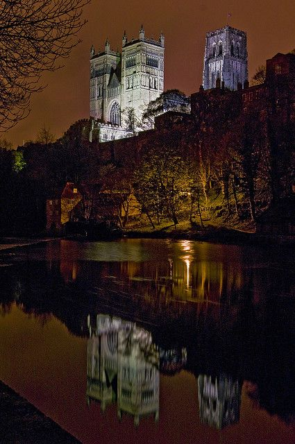 The impressive Durham Cathedral, seen from the river Wear.