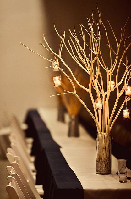 Spray painted gold branch centerpiece party pinterest