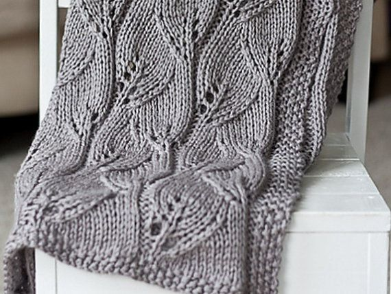 Knitted Leaf Pattern Blanket : Baby blanket- knit leaf blanket