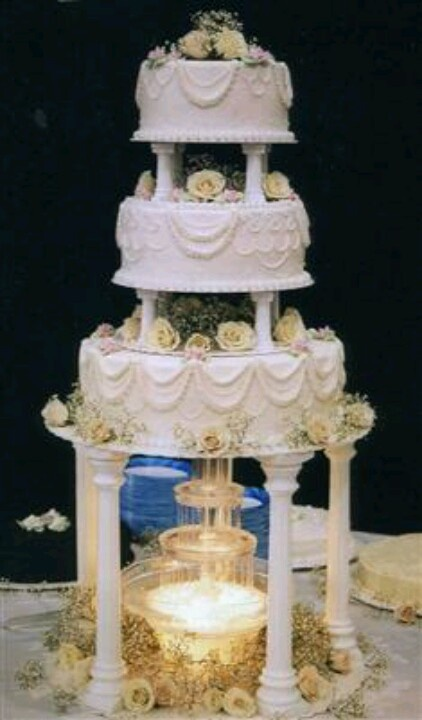 cake with water fountain