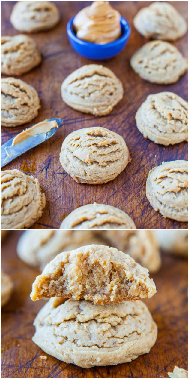 Soft and Puffy Peanut Butter Coconut Oil Cookies - NO Butter  NO White Sugar used in these soft, puffy cookies that are bursting with peanut butter flavor! If you've wanted to start baking with coconut oil, these are so easy!