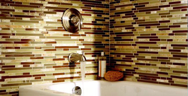 Glass tile bathroom Home Pinterest