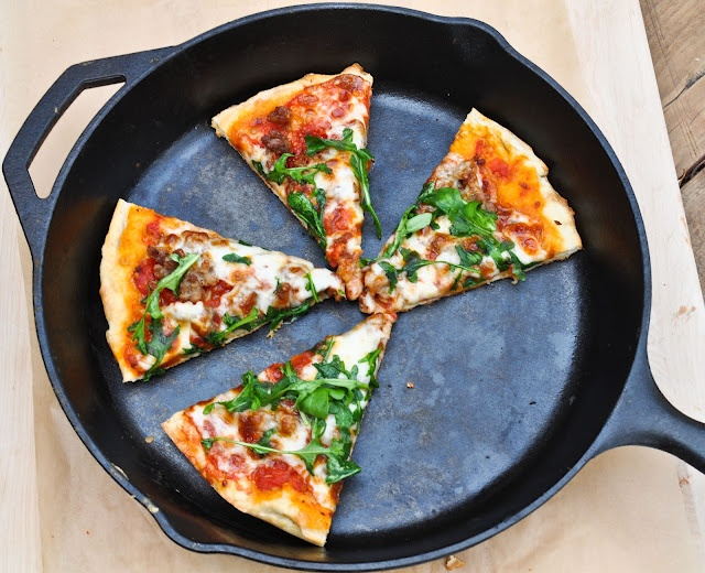 Homemade pizza with sausage and arugula-- cooked in a skillet! Great ...
