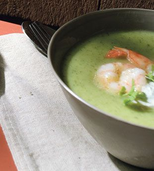 Chilled Zucchini Soup with Lemon-Cumin Shrimp and Cilantro Cream | Re ...