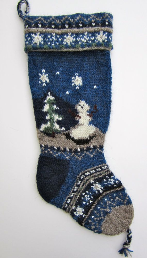 Hand Knit Christmas Stocking no pattern