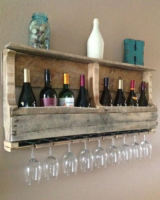 Perfect space for hanging wine glasses that I love to drink everything out of, Tea, Coke, Juice..name it!Create Rustic DIY Furniture With Pallets (PHOTOS) | Moms | Wetpaint