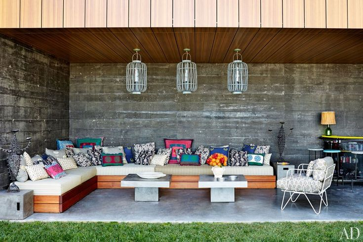 An outdoor seating area at Muriel Brandolini's family retreat in the Hamptons